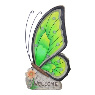 Exhart Welcome Green Butterfly Solar Marquee