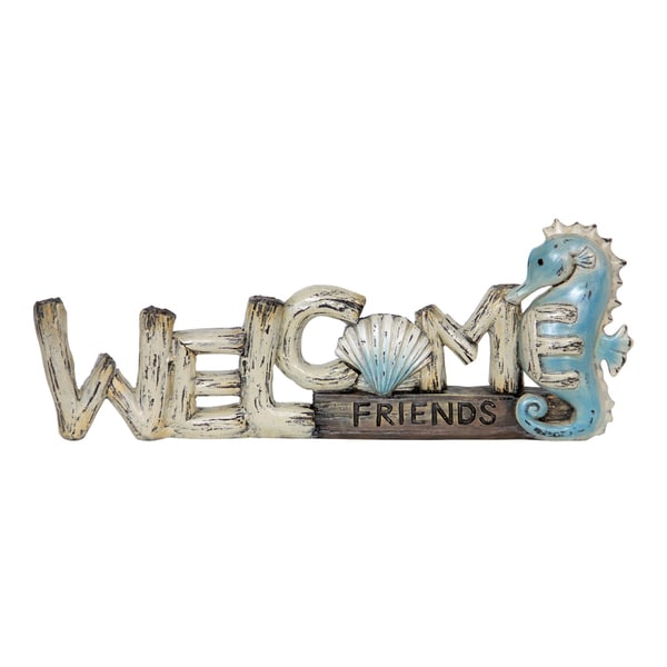 Shop Exhart Resin Welcome Friends Sea Horse Sign Hand