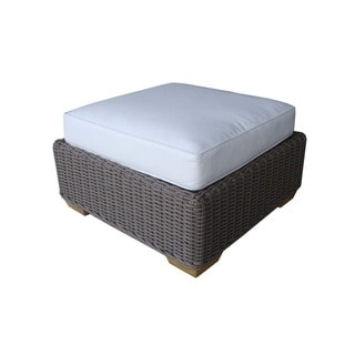 Amanda Natural Wicker Outdoor Ottoman with Cushion