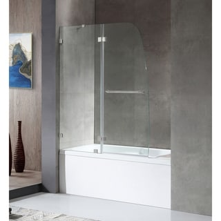 ANZZI HERALD Series 48 in. by 58 in. Frameless Hinged tub door in Brushed Nickel