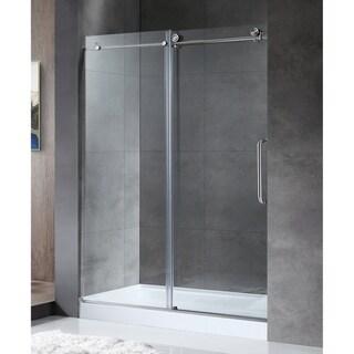 "ANZZI Madam 48"" x 76"" Frameless Sliding Shower Door in Brushed Nickel"