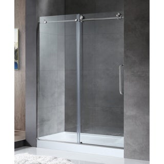 ANZZI MADAM Series 48 in. by 76 in. Frameless Sliding shower door in Brushed Nickel with Handle