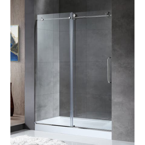 "ANZZI Madam 48"" x 76"" Frameless Sliding Shower Door in Polished Chrome"