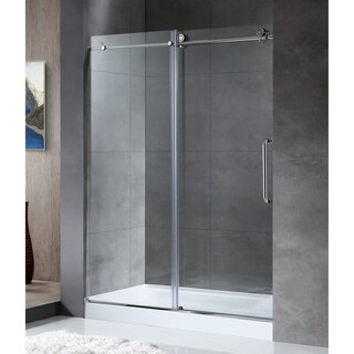 ANZZI MADAM Series 48 in. by 76 in. Frameless Sliding shower door in Chrome with Handle