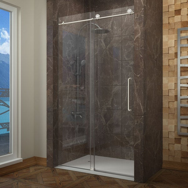 Anzzi madam series 60 in by 76 in frameless sliding shower door in anzzi madam series 60 in by 76 in frameless sliding shower door in brushed eventshaper