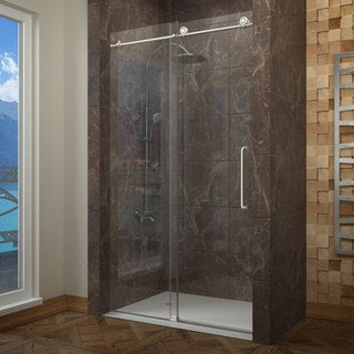 "ANZZI Madam 60"" x 76"" Frameless Sliding Shower Door in Brushed Nickel"