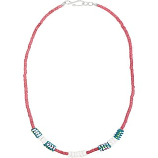 Handmade Recycled Glass Bead Necklace in Teal - Global Mamas (Ghana)