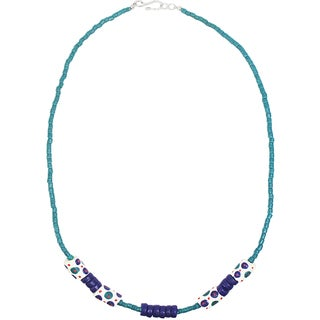 Handmade Recycled Glass Bead Necklace in White - Global Mamas (Ghana)