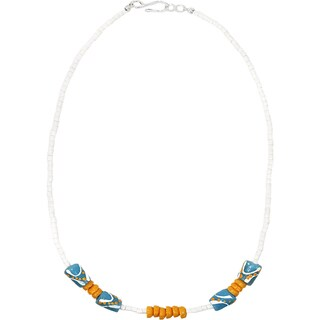 Handmade Recycled Glass Bead Necklace in Light Blue - Global Mamas (Ghana)