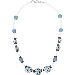 Handmade Grace Necklace in Blue - Global Mamas (Ghana)