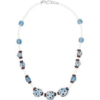 Handmade Grace Necklace in Blue - Global Mamas (Ghana)