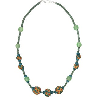 Handmade Grace Necklace in Moss - Global Mamas (Ghana)