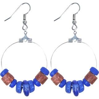 Handmade Down to Earth Earrings in Blue - Global Mamas (Ghana)