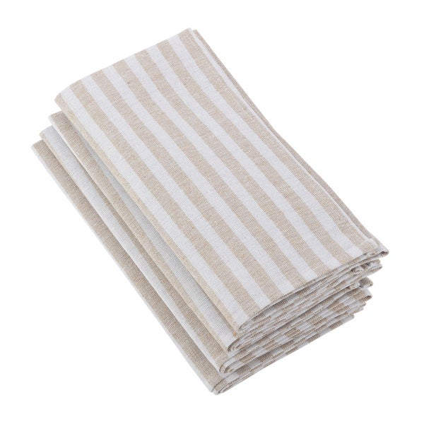 Striped Printed Design Cotton Linen Napkin - Set of 4