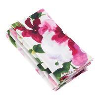 Watercolor Floral Printed Design Linen Napkin - Set of 4