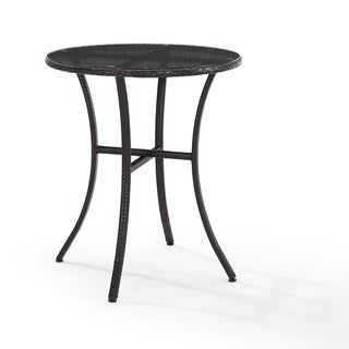 Palm Harbor Outdoor Brown Wicker and Steel Bistro Table