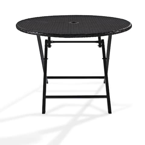 Palm Harbor Wicker Outdoor Folding Table - N/A