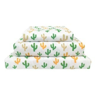 Wild West Cactus Print Polyester Sheet Set