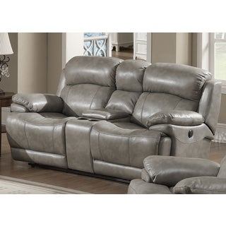 Estella Grey Italian Leather Contemporary Power Reclining Loveseat