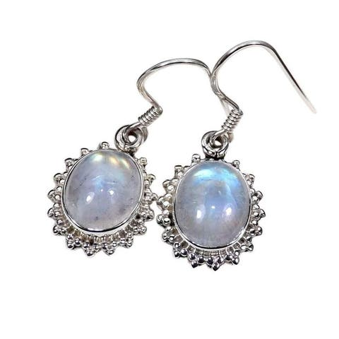 Handmade Sterling Silver Oval Gemstone Earrings (India)