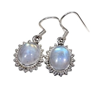 Handmade Sterling Silver Oval Gemstone Earrings (India)