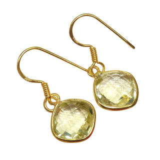 Handmade Gold Overlay Sterling Lemon Quartz Earrings (India) - YELLOW
