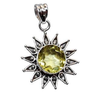 Handmade Sterling Silver Lemon Quartz Pendant Necklace (India) - Gold/ Yellow