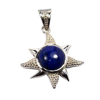 Handmade Sterling Silver Lapis Lazuli Pendant Necklace (India)