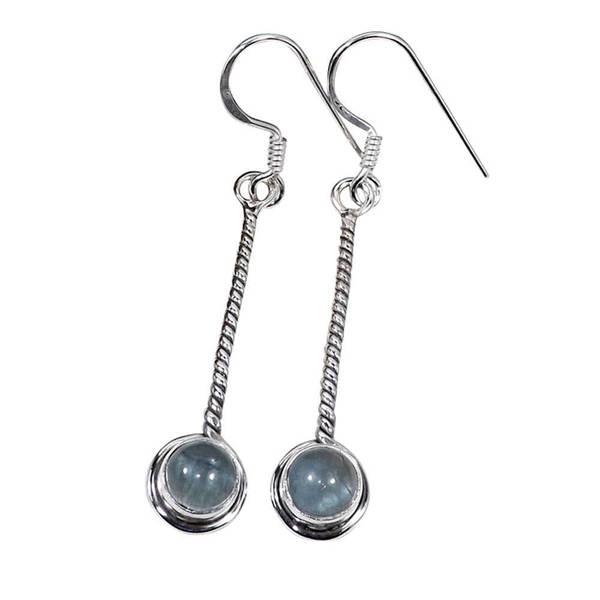 Handmade Sterling Silver Aquamarine Earrings India Blueberry