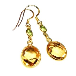 Handmade Gold Overlay Sterling Citrine and Peridot Earrings (India) - multi