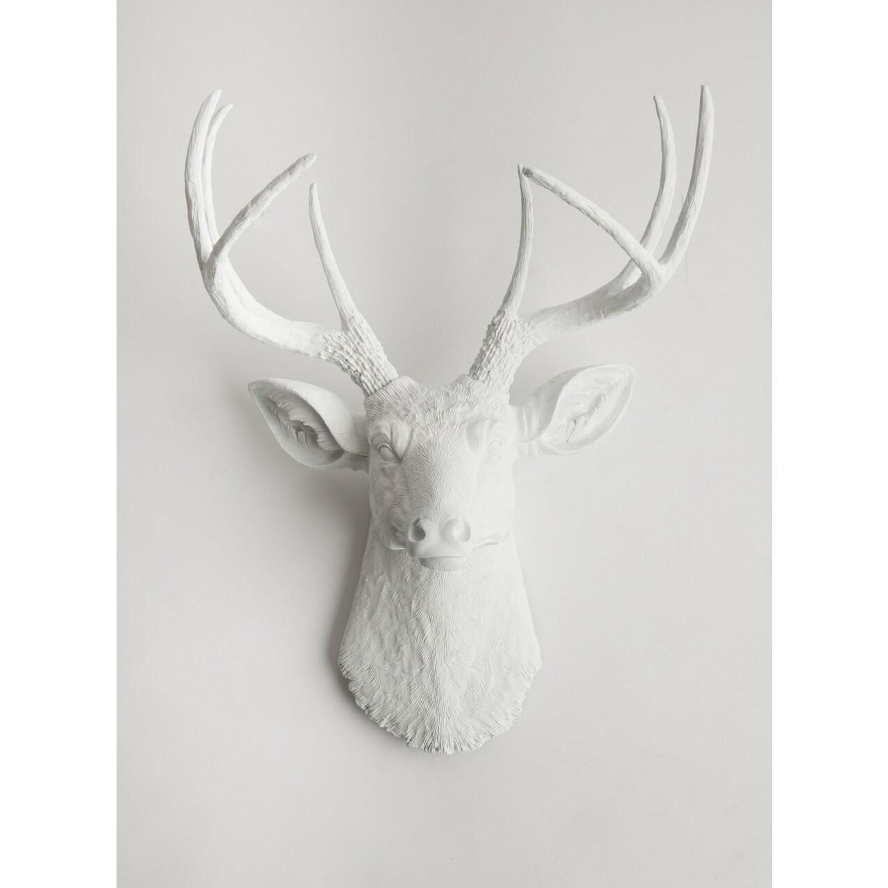 Pine Canopy Sanvitalia White Faux Deer Head Wall Mount