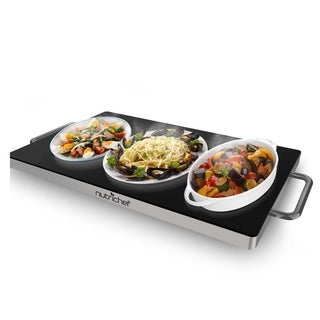 NutriChef PKWTR45 Electronic Warming Tray, Plug-in Food Warmer with Non-Stick, Heat-Resistant Glass Plate