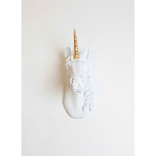 The Bayer in White W/ Gold Horn, Unicorn Head Wall Mount by White Faux Taxidermy