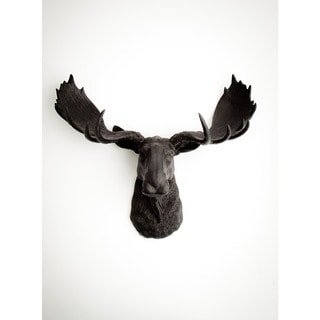 The Leonard, Black Faux Moose Head Wall Mount by White Faux Taxidermy