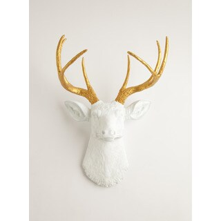 Pine Canopy Sanvitalia White Faux Deer Head w/ Gold Antlers