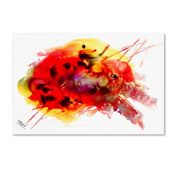 Mako 'Abstract 09' Canvas Art - Red