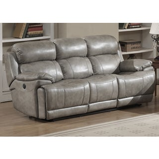 Estella Grey Leather Gel Upholstered Contemporary Power Reclining Sofa