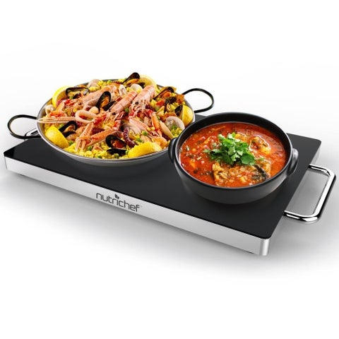 NutriChef PKWTR30 Electronic Warming Tray, Plug-in Food Warmer with Non-Stick, Heat-Resistant Glass Plate