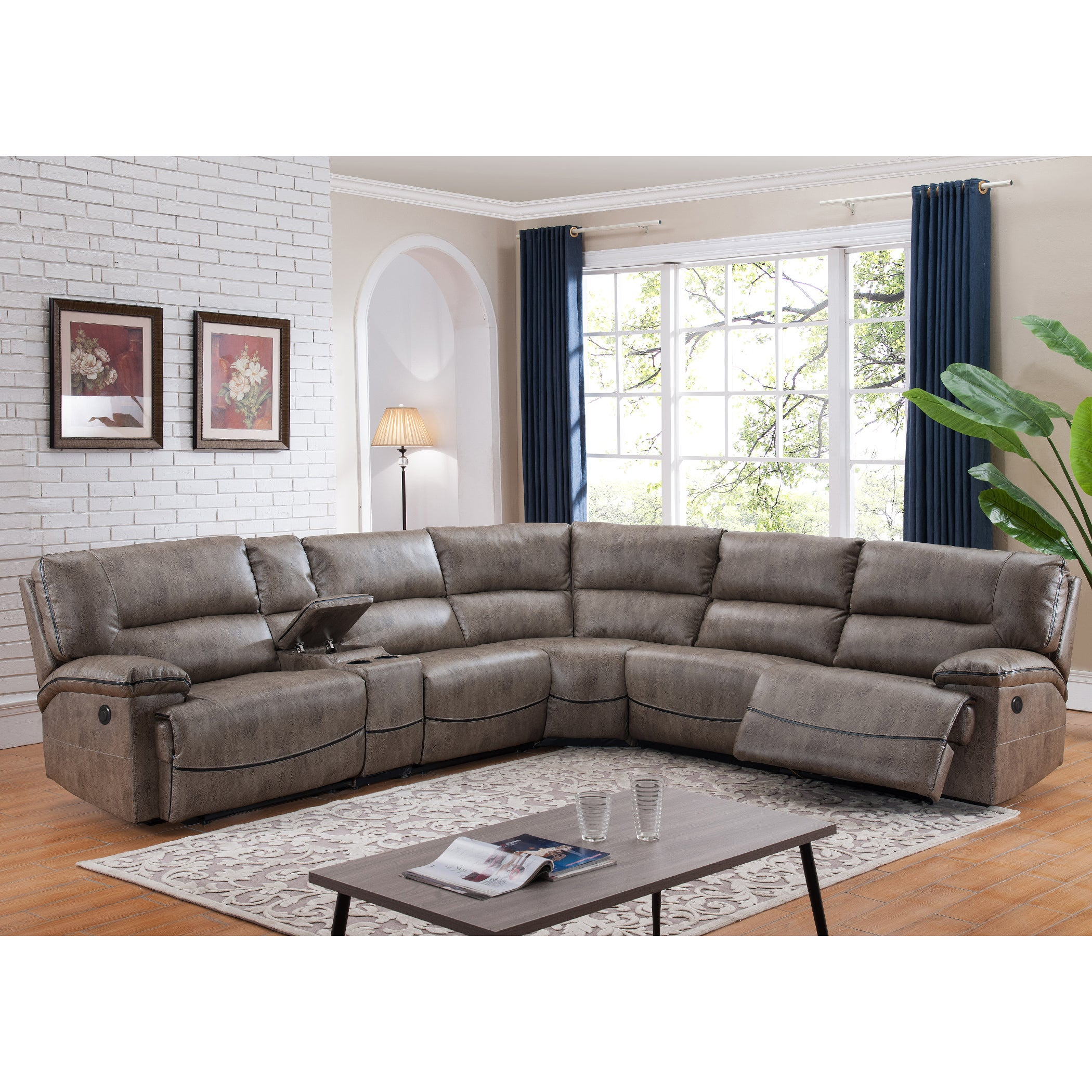 Donovan 6 Piece Sectional Sofa with Power Reclining Seats and Storage  Console