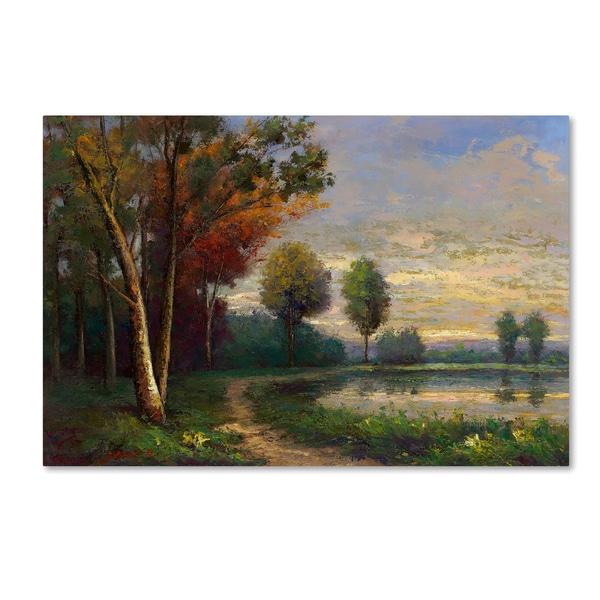 Daniel Moises 'Landscape with a Lake' Canvas Art