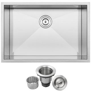 "28"" Ticor S-3680 Stainless Steel 16 Gauge Single Bowl Undermount Square Kitchen Sink Zero Radius Corners"