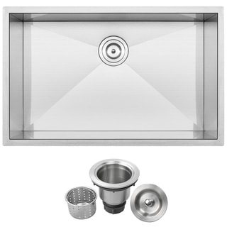 "30"" Ticor S-3690 Stainless Steel 16 Gauge Single Bowl Undermount Square Kitchen Sink Zero Radius Corners"