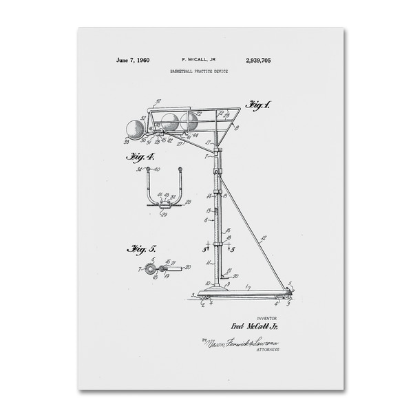 Claire Doherty 'Practice Device Patent 1960 Part 1 White' Canvas Art - Black