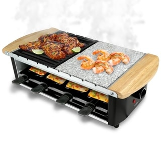 Delightful NutriChef PKGRST54 Raclette Grill, Two Tier Party Cooktop, Stone Plate U0026  Metal Grills