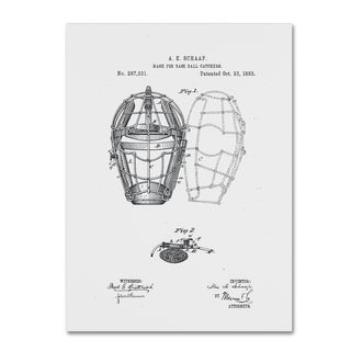 Claire Doherty 'Baseball Catcher's Mask Patent 1883 White' Canvas Art