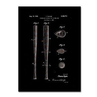 Claire Doherty 'Baseball Bat Patent 1939 Black' Canvas Art