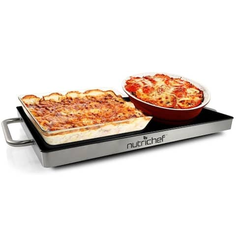 NutriChef PKWTR15 Electronic Warming Tray, Plug-in Food Warmer with Non-Stick, Heat-Resistant Glass Plate