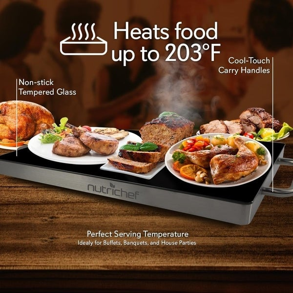 NEW NutriChef PKWTR40 Electronic Non-Stick  Heat-Resistant Food Warming Tray