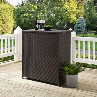 "Link to Palm Harbor Brown Wicker Outdoor Bar - 39.37 ""W x 22 ""D x 43 ""H - 39.37 ""W x 22 ""D x 43 ""H Similar Items in Outdoor Coffee & Side Tables"