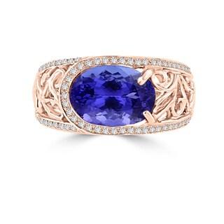 La Vita Vital 18K Rose Gold Tanzanite 3.62cts and Diamond 0.32ct TDW (SI1-VS, G-H) Ring